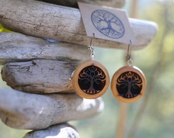 Red Cedar Tribal Tree Earrings- Wooden Earrings- - Natural Wood Jewelry- Eco Earrings
