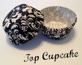 Black with White Scroll Cupcake Liners