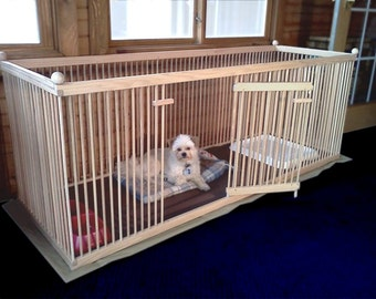 Elegant 2u0027x6u0027 Solid RED OAK Extended Length Dog Crate. Waterproof, Machine