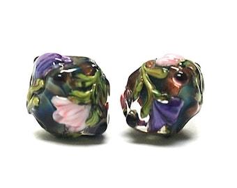 Glass Lampwork Bead Sets  - Five Hidden Garden Bicone Beads 10407407