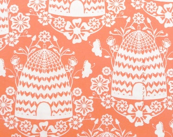 Beehive Fabric, Art Gallery Sweet as Honey SAH-2604 Honey House Peach, Bonnie Christine,  Bright Coral Quilting Cotton Yardage