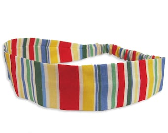 """Fabric Headband - Cha Cha Stripe - Pick your size - fit toddlers to adults - 1-1/2"""" wide"""