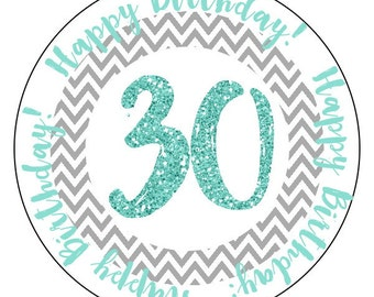 30th birthday stickers, chevron 30th party stickers, gray teal thirtieth birthday labels, teal glitter birthday stickers, 3 sizes available