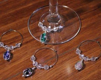 Glass Beaded Wine Glass Charms