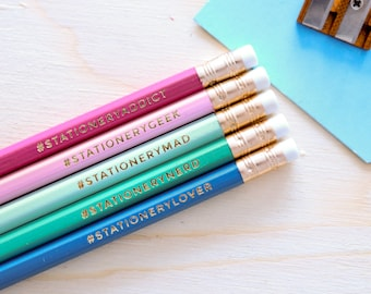 Stationery Addict Hashtag Pencils Mixed Gift Set - Back To School - Teacher Gift - Pencil Sets - Stocking Filler - Stamped Pencils