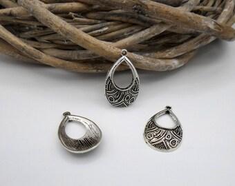2 charms / pendants in ethnic style silver metal Teardrop shape