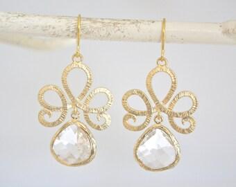 Gold Earrings, Drop Earrings, Dangle earrings, Bridesmaid gifts, Bridesmaids Jewelry, Girlfriend Gifts Bridesmaid Earrings Birthday Gifts