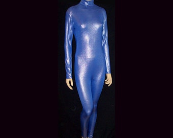 Silver Metallic On Royal Blue Stretch Spandex Unitard Catsuit Bodysuit Jumpsuit Unisex