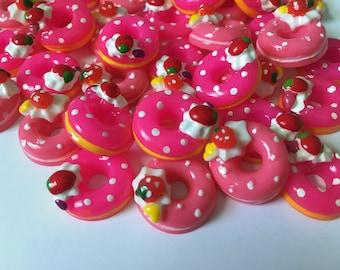 Pink Donut Cabochons/Kawaii/Flatback