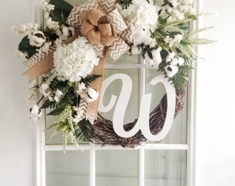 Personalized Wreath - Initial Wreath - Door Wreath - Hydrangea Wreath - Wedding Wreath - Floral Wreath - Grapevine Wreath