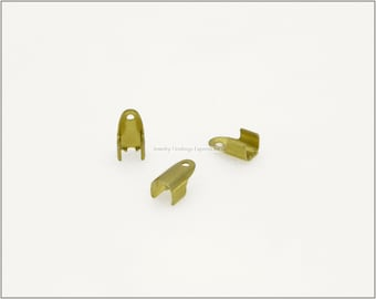 20 pc.+  4mm Fold Over Crimp Ends for Cords & Chains - Raw Brass