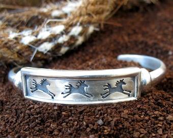Sterling Silver Spirit Horse Cuff Bracelet