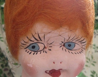 Vintage Kewpie Cupie Doll with Red Hair Wig Chalk Large Figurine