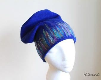 Hat Beanie Cobalt Blue Winter Autumn Stylish Women Fall Accessory Classic One Size Unique
