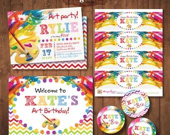 Birthday Painting Party Invitation Pack. Rainbow colors. DIY card. Digital Printable card.
