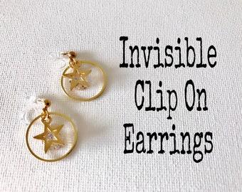 Invisible Clip On Star Earrings, Non Pierced Earrings,  #25