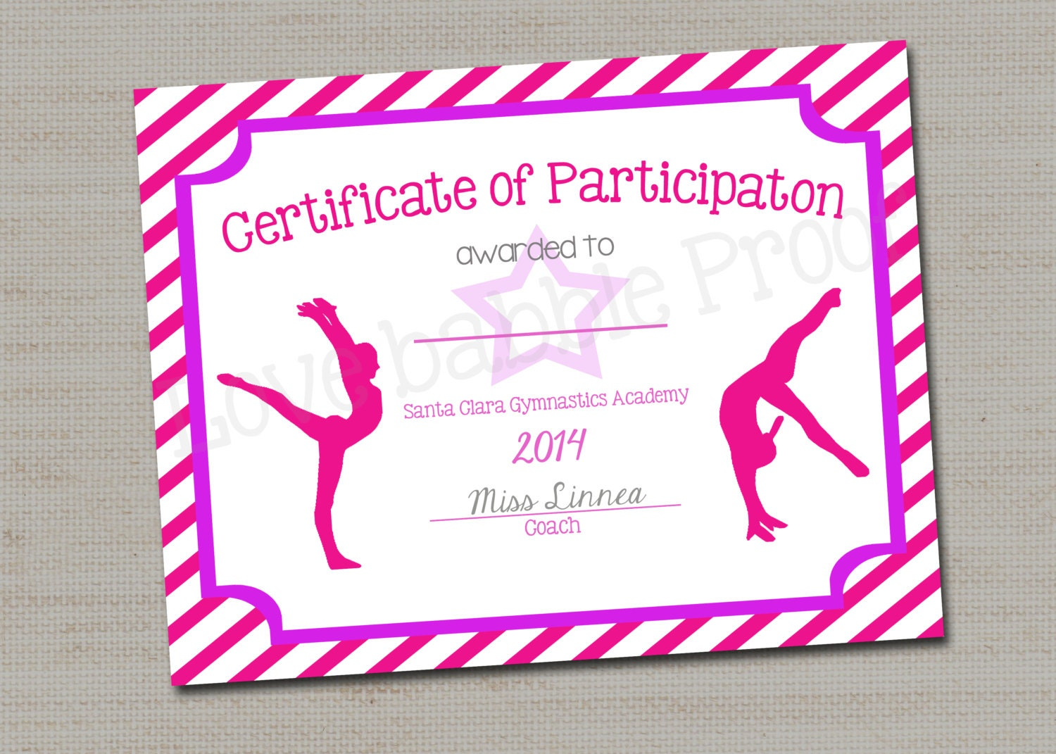Gymnastics award certificate dance award printable digital zoom yadclub