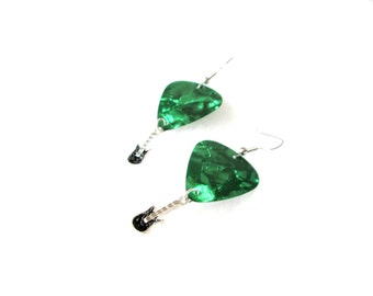 Last Pair! / Green Guitar Pick Dangle Earrings / Guitar Pick Earrings / Rockstar Earrings / Guitar Earrings / Green Guitar / Gift for Her