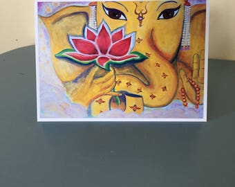 Ganesha Greeting Card - Fine Art Cards - Blank Inside - 5x7 - Comes with White Envelope