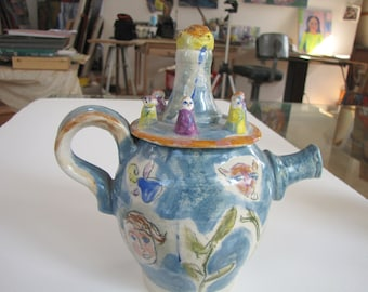 Teapot with Drawings and Figures by Gloria Moses