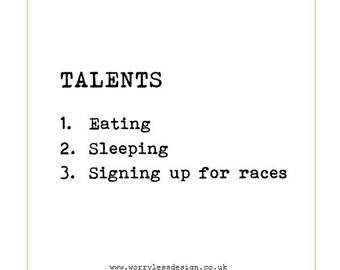Runners Card - Talents: Eating, Sleeping, Signing up for races