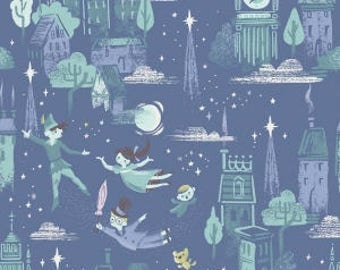 Peter Pan Main Print on Blue from Riley Blake's Neverland Collection
