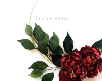 Modern Wreath // Fourth of July Wreath // Patriotic Wreath // Wedding Decor // Bridal Shower Decor // Gold Hoop Wreath // Minimalistic