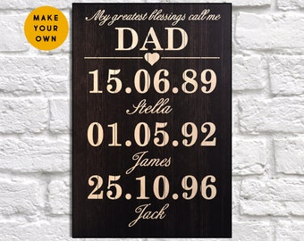Fathers day gift from daughter Custom Wood wall art Personalised Gift for Fathers day gift from Son Gift for Dad gift Panel effect Wood sign