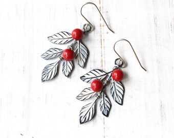 Red berry and snowy leaf earrings, Christmas earrings, bohemian earrings, winter earrings, boho style earrings, holiday earrings
