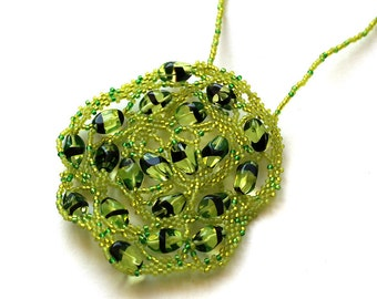Unusual necklace Lime freeform necklace OOAK green pendant Glass jewelry Seed bead necklace Large pendant Handmade necklace Beaded jewelry