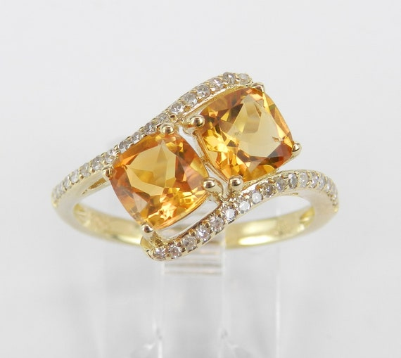 Two Stone Cushion Cut Citrine and Diamond Promise Ring Yellow Gold Size 7 November Birthstone Gem