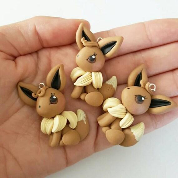 Kawaii Eevee, Necklace, Polymer Clay Charm, Polymer Clay Pendant, Halloween, polymer clay, clay pendant, Kawaii, Chibi, Clay Charm