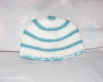 C92  Age 1 to 3 Years,  Hand Made, Crocheted Beanie, Baby Hat, Blue and White Striped Crocheted Baby Beanie