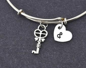 Key Bangle, Sterling Silver Bangle, Key Bracelet, Bridesmaid Gift, Personalized Bracelet, Charm Bangle, Initial Bracelet, Monogram Bangle