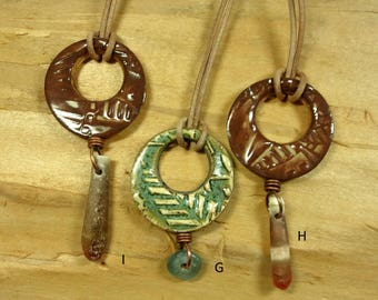 One of a Kind Handmade Reversible Ceramic Spirit Hole Pendant, One Side Glazed, Other Side Raw, Interesting Drop, Natural Leather Cord