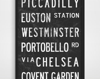 LONDON City Print - London, England - Subway Sign Print - Typographic Poster - Modern Home Decor - Home Furnishings - Typography Art Poster.