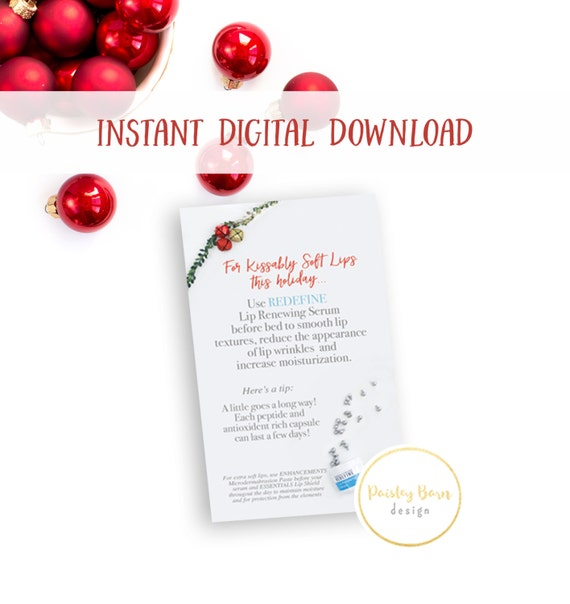 INSTANT DOWNLOAD Kissably Soft Lips Gift Tags with Directions | skincare, lip serum, business card, R+F, marketing