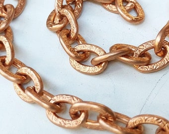 SALE 6ft Large Textured Copper Chain Flat Link Cable 7mm x 10mm, Patterned Copper Chain, Chunky Chain