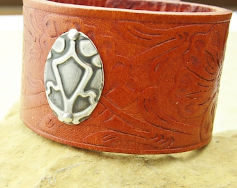 Leather cuff  bracelet with embossed sterling silver handmade unique jewelry