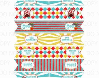 Printable DIY Customized Vintage Circus Theme Straw Flags 4th Birthday