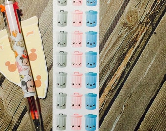 Trash Can Functional Planner Stickers