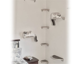 8pc Floating Corner Cat Tree - Lunar Collection Modern Cat Furniture, Cat Shelves, Cat Wall Shelves, Cat Wall Bed, Cat Wall Perch, Cat Shelf