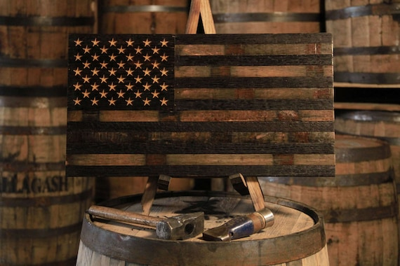 Bourbon Whiskey Barrel Flag Usa Flag Made From Oak Barrel