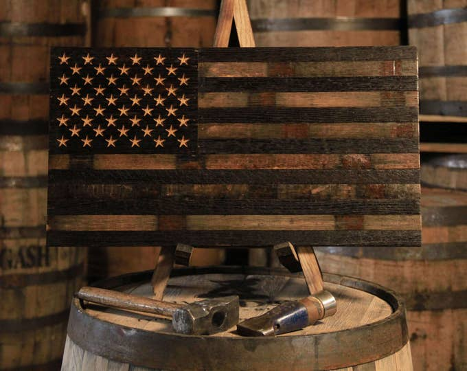 Bourbon Whiskey Barrel Flag - USA Flag Made From Oak Barrel Wood
