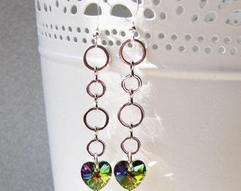 Vitrail Medium Crystal Heart Earrings, Dangle Earring with Swarovski crystal, Rainbow heart earrings, Bridal earrings, Crystal earring