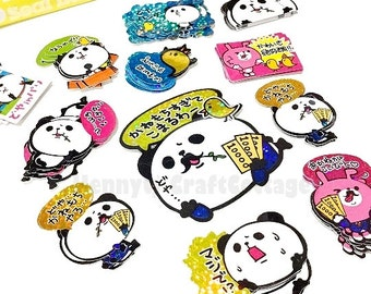 Kawaii Glitter Flake Sticker Sacks. Cute Panda Bear Stickers. Filofax KIKKI.K Erin Condren Life Planner Journal Album decorations scrapbook