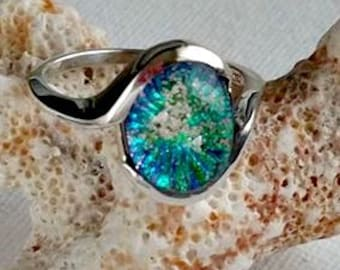 Forever Memorial Ring in Sterling Silver, Ashes in Glass, Cremation Jewelry, Pet Memorial