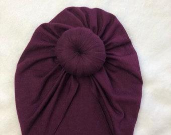 Plum, Baby Turban, baby hat, baby Turbans