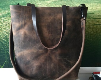 Dark Brown Leather Tote Bag - leather shopper - Brown Leather Travel Bag - distressed dark brown Leather Market bag- Sale