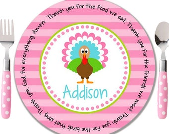 Personalized Melamine Plate   Personalized Kids Plate   Personalized  Childrens Plate   Thanksgiving Plate   Thanksgiving